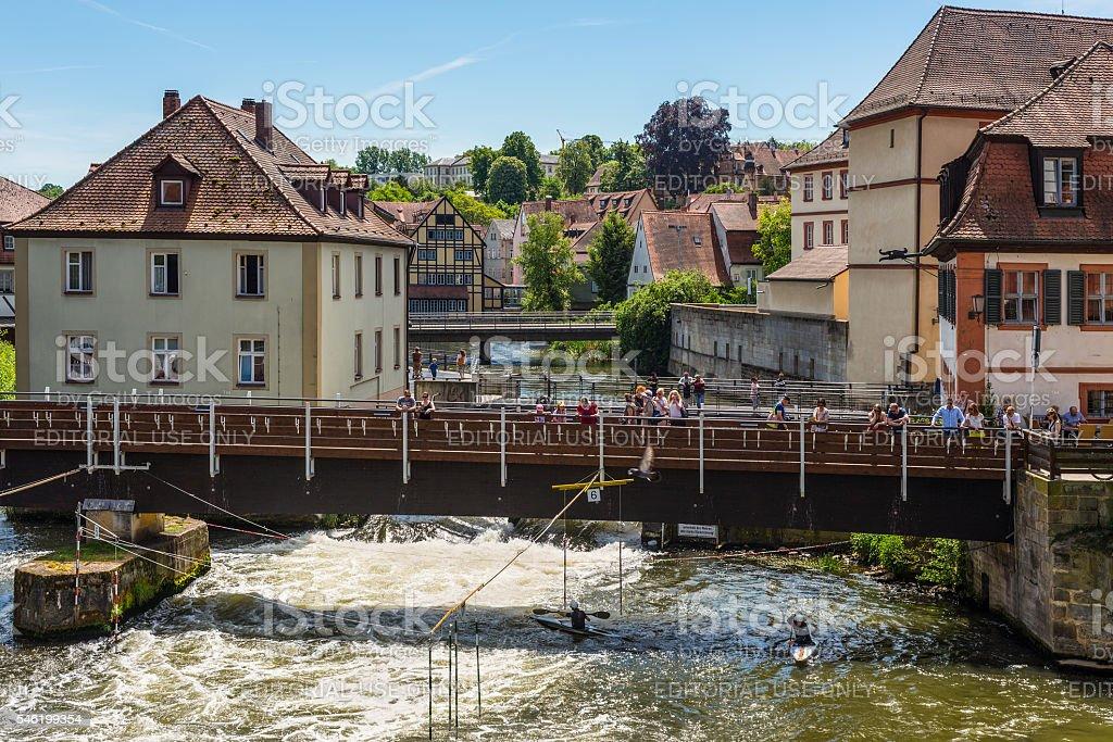 Canoe slalom on the River Regnitz, Bamberg, Bavaria, Germany, Eu stock photo
