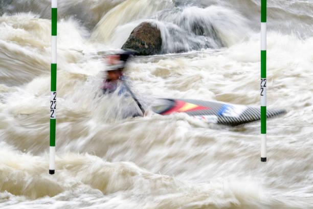 Canoe slalom - water sport stock photo