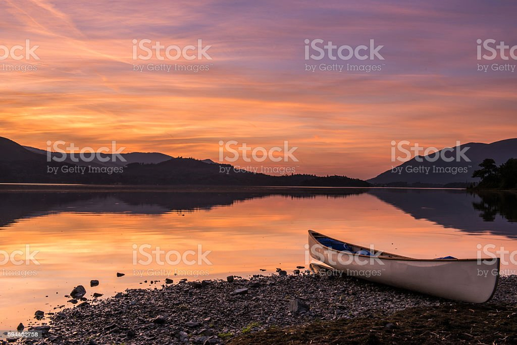 Canoe Sunset stock photo