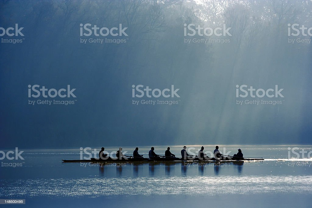 Canoe team stock photo