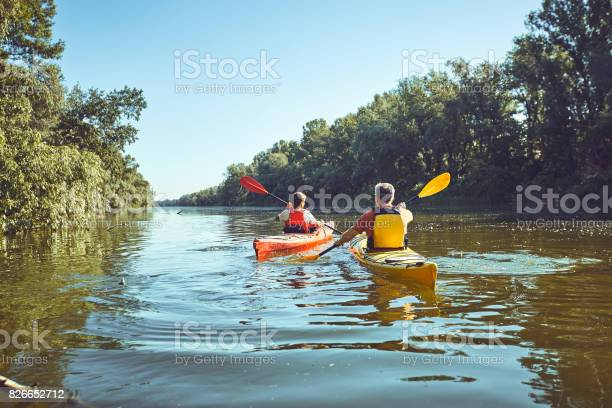 Photo of A canoe trip on the river in the summer.