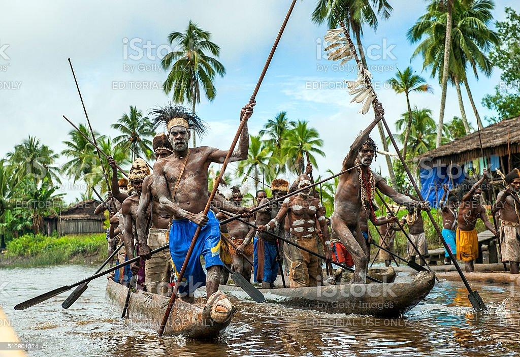 Canoe war ceremony stock photo