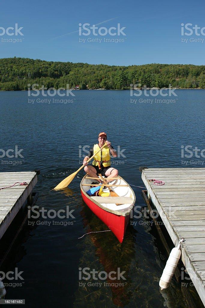 Canoe with man royalty-free stock photo