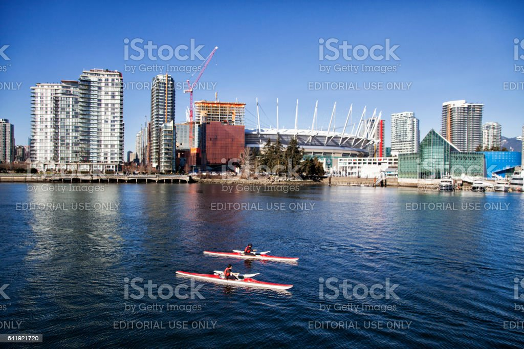 Canoeing at False Creek in Winter,Vancouver,Canada stock photo