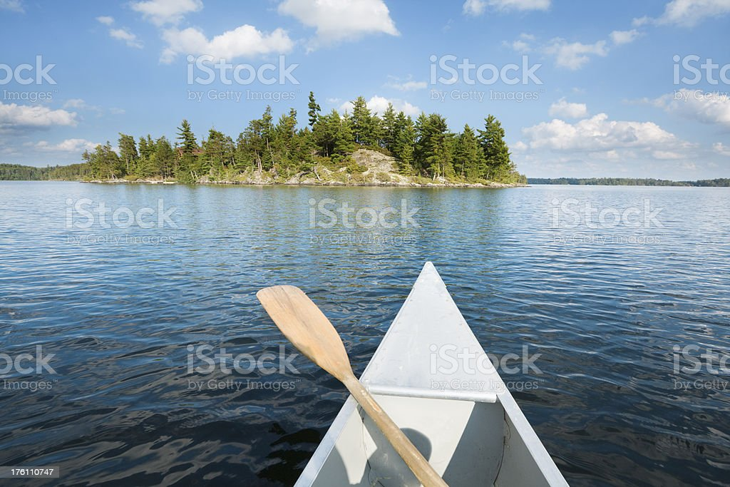 Canoeing in the Lakes of Minnesota Boundary Waters Canoe Area stock photo