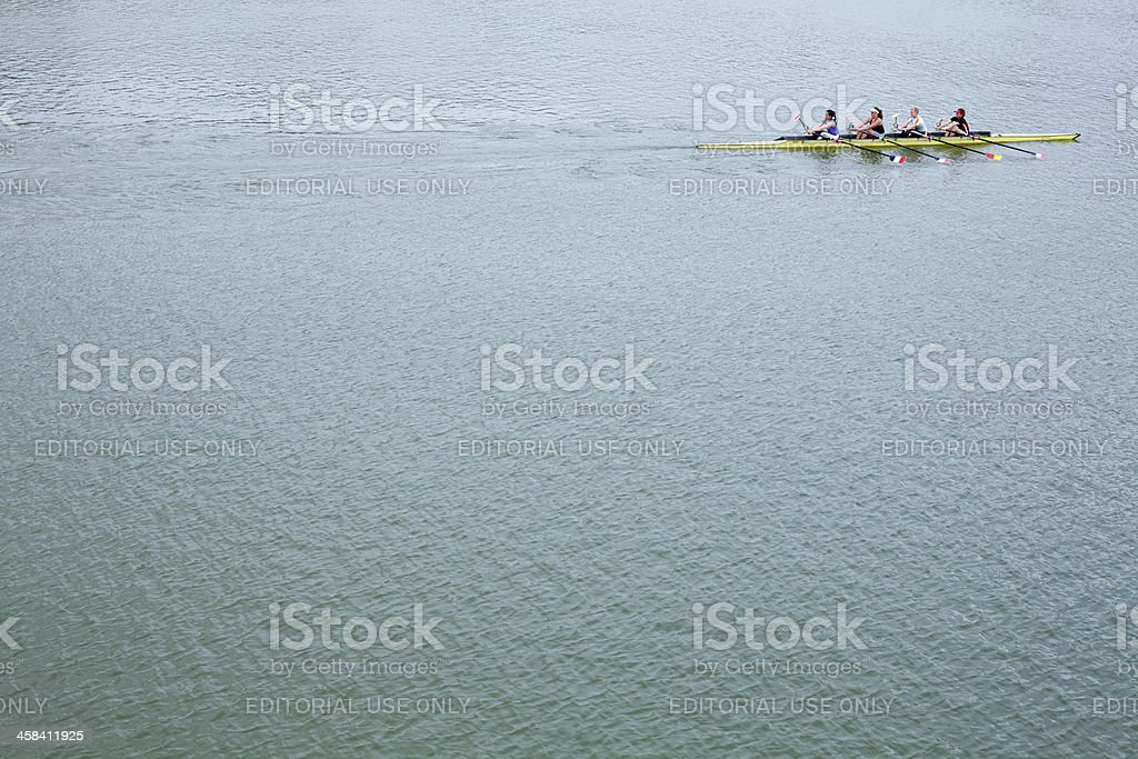 Canoeing in the River, Spain royalty-free stock photo