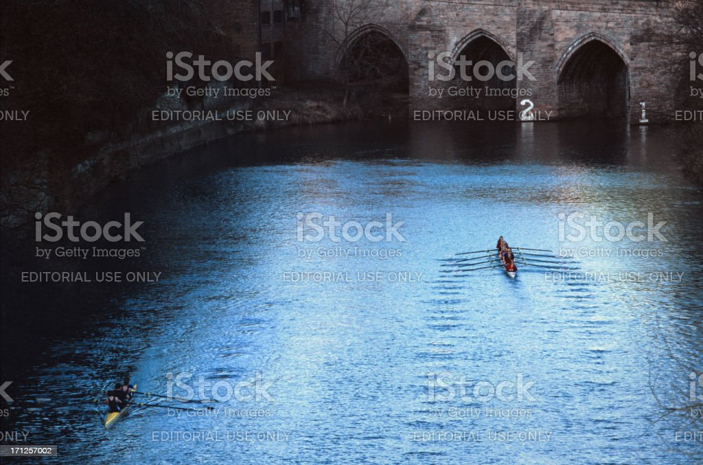 Canoeing in the river Wear, Durham royalty-free stock photo