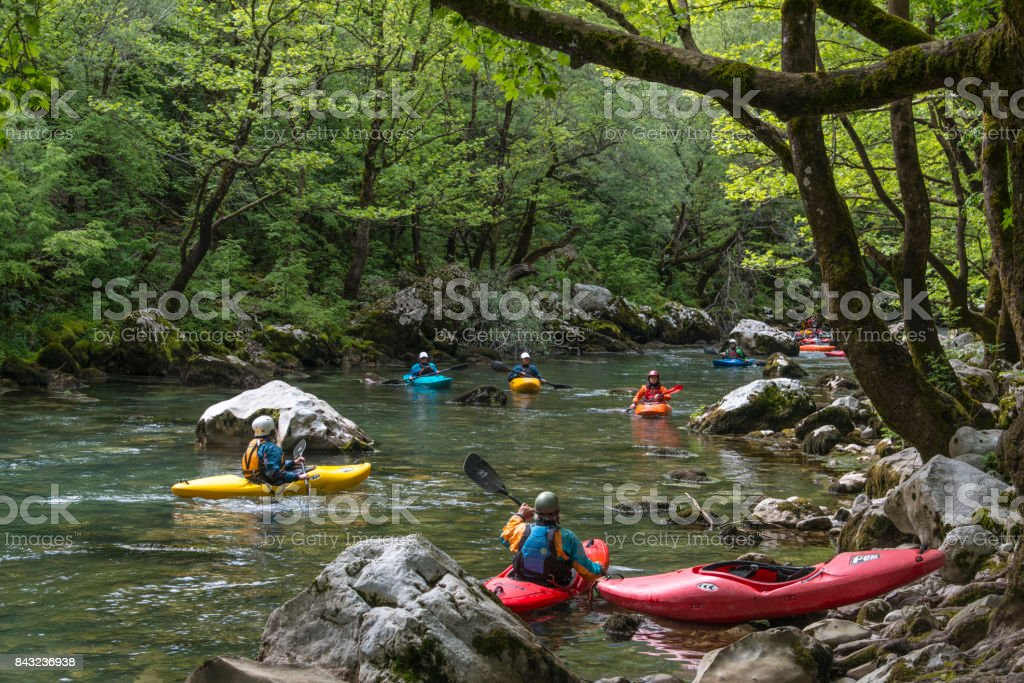 Vikos Gorge, Greece- May 10, 2017:Canoeing in Vikos Gorge river stock photo