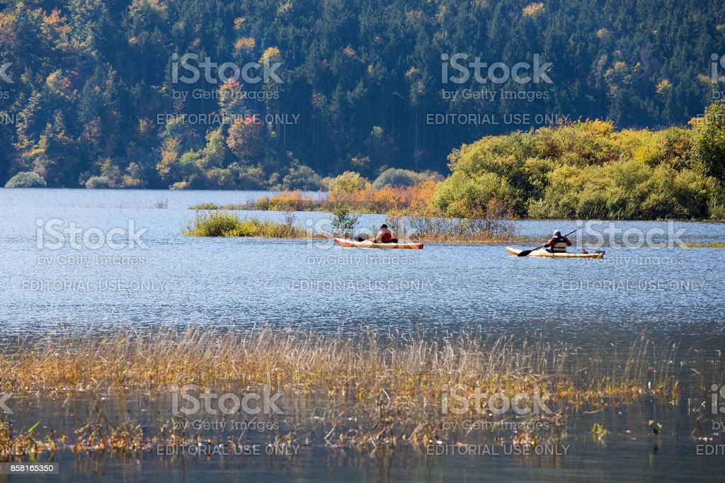 Canoeing - Kayaking on lake Cerknica, Slovenia stock photo
