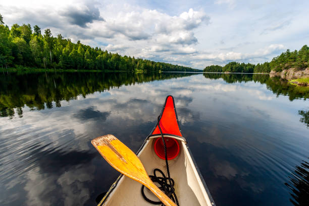 Canoeing on a calm lake in rural Sweden. stock photo