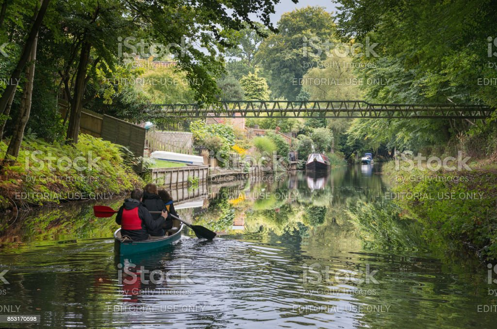 Canoeing on the Basingstoke Canal stock photo