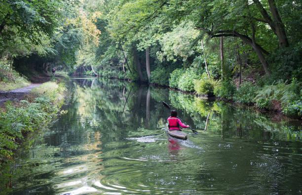 Canoeing on the Basingstoke Canal stock photo