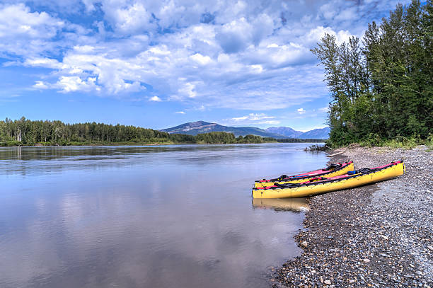 Canoeing South Nahanni River stock photo