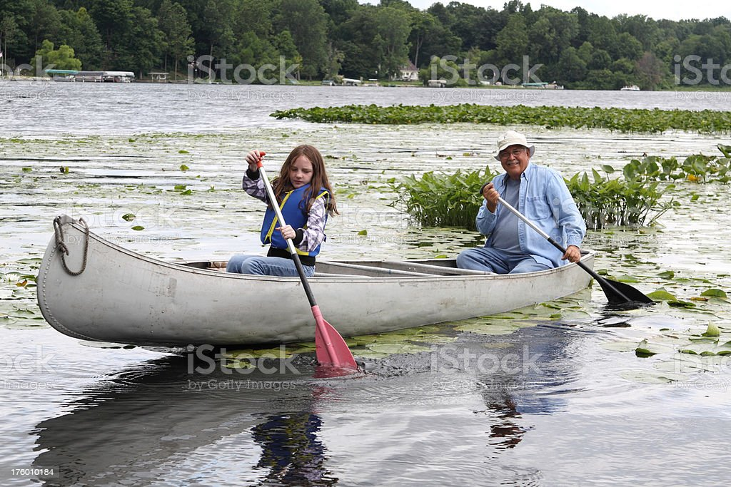 Canoeing Together royalty-free stock photo