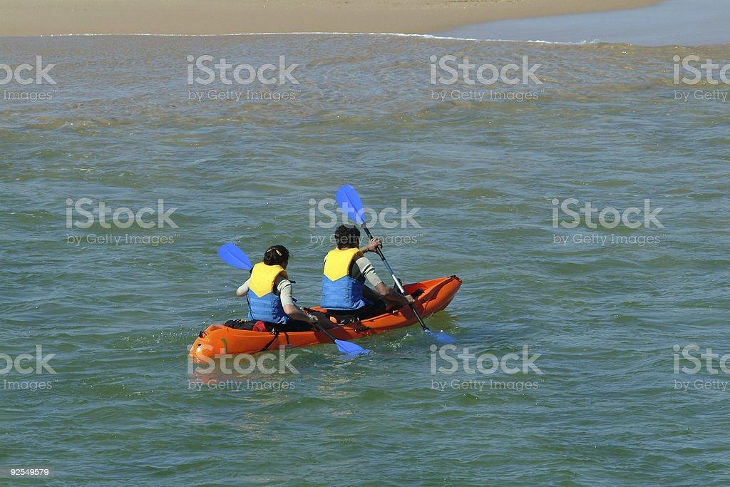 Canoeists trainings royalty-free stock photo