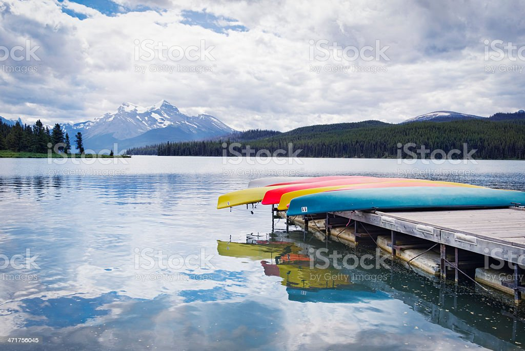 Canoes at Maligne Lake, Jasper National Park,Canada royalty-free stock photo