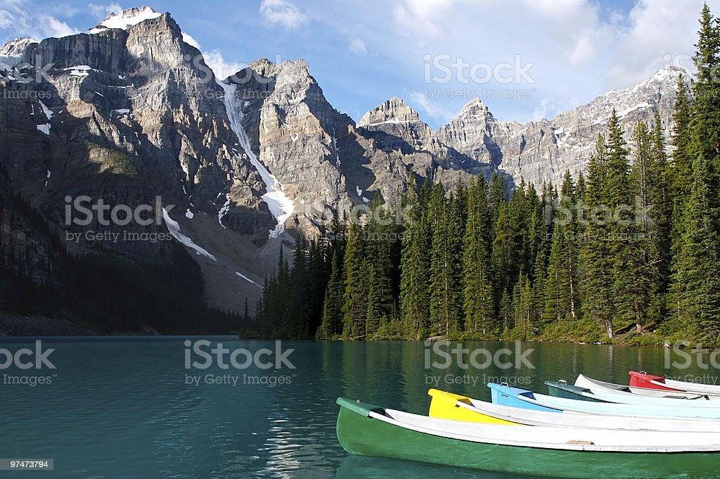 Canoes at Moraine Lake royalty-free stock photo