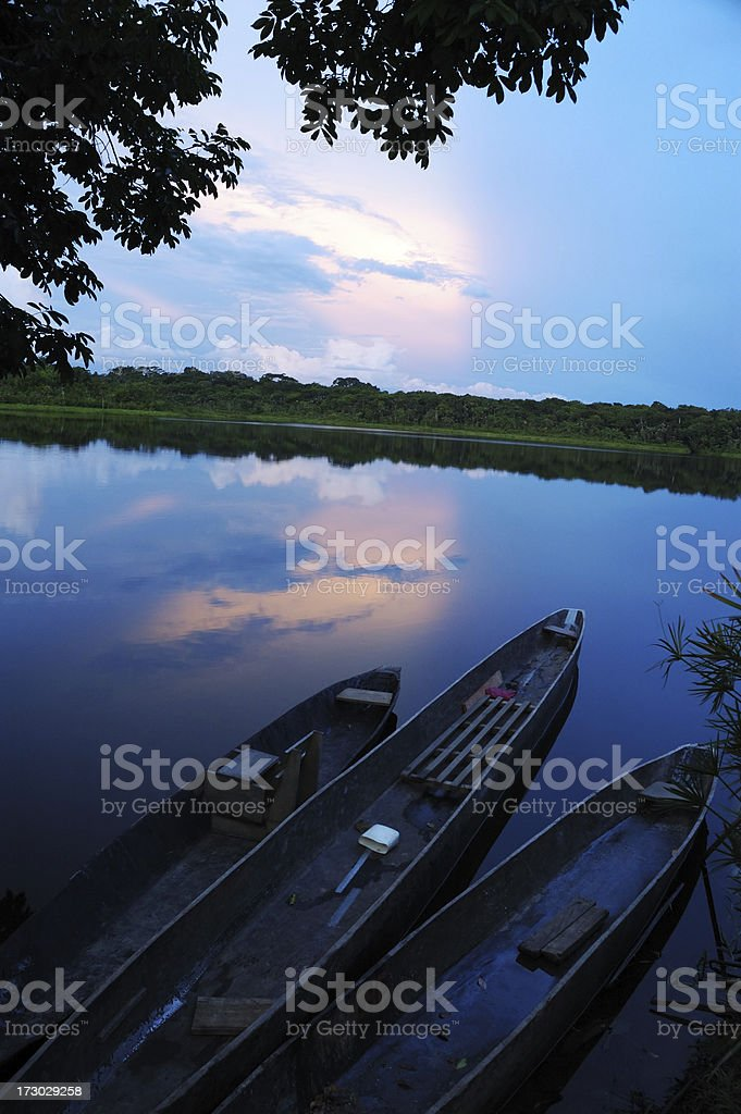 Canoes at Sunset royalty-free stock photo