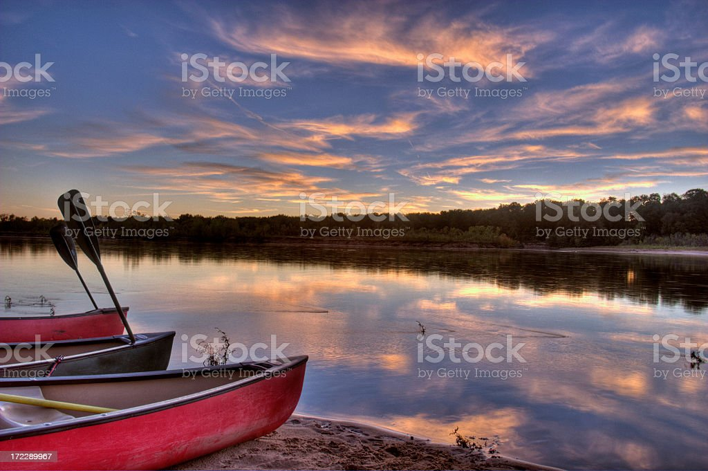 Canoes by the Shore royalty-free stock photo
