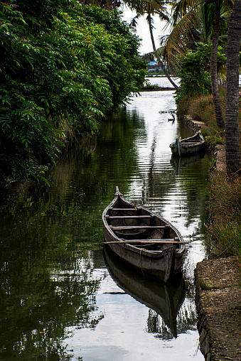 Canals are the roads in the water world of Kerala and Canoes are the simplest water vehicle available for use there. A image of a couple of canoe boats in the interior parts of Kerala.