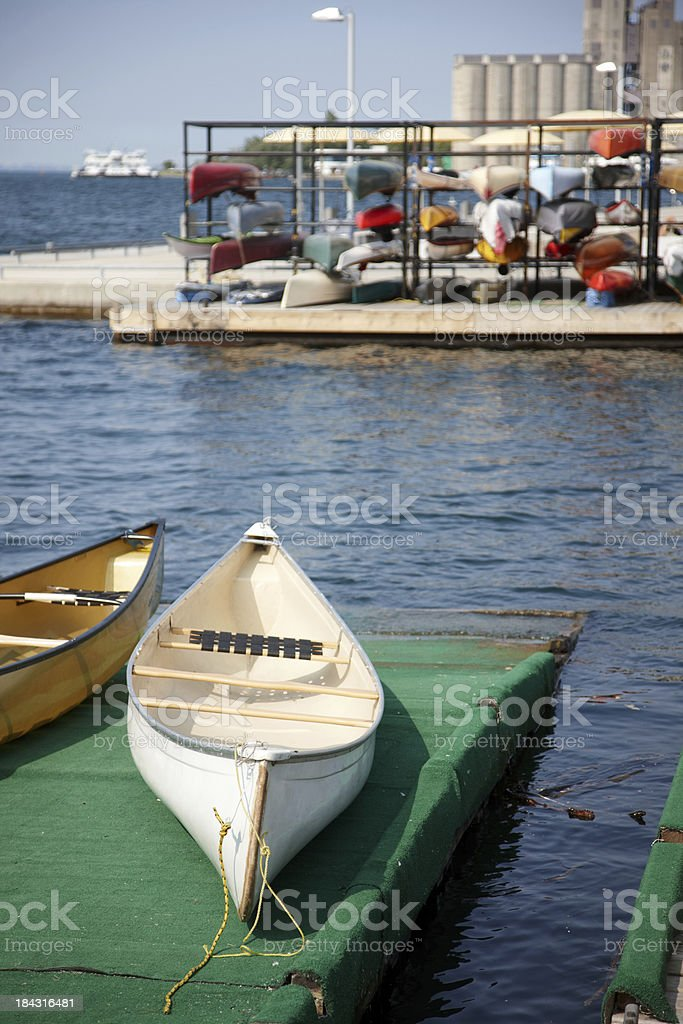 Canoes for hire at Lake Ontario waterfront downtown Toronto royalty-free stock photo