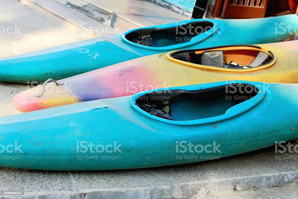 Canoes for rent. Pokhara-Nepal. 0758 stock photo