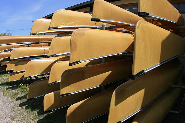 Canoes In Ely, Minnesota stock photo