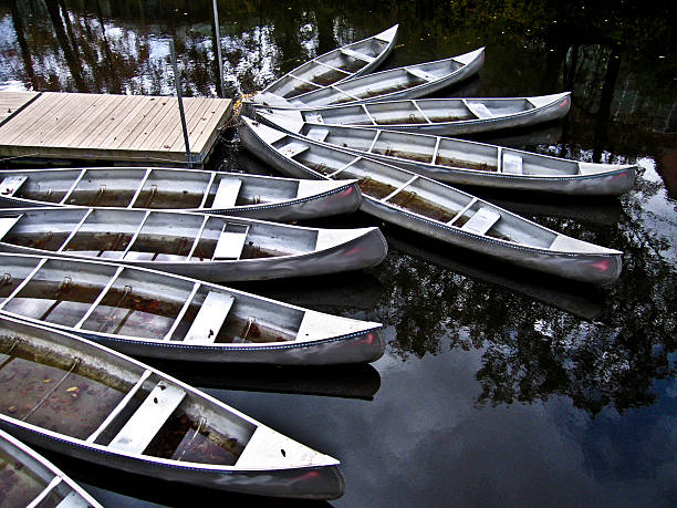 Canoes In Michigan stock photo