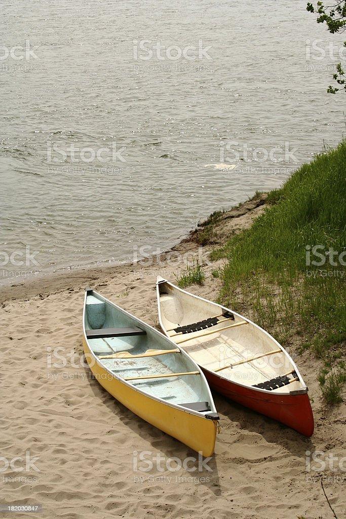 Canoes in the Saskatchewan river stock photo