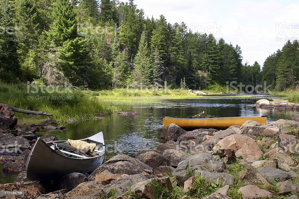 Canoes in the Wilderness stock photo