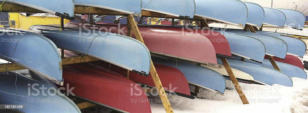 canoes in winter royalty-free stock photo