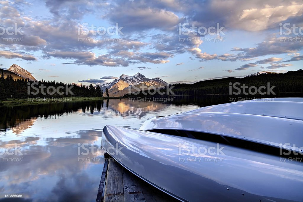 Canoes on a dock royalty-free stock photo