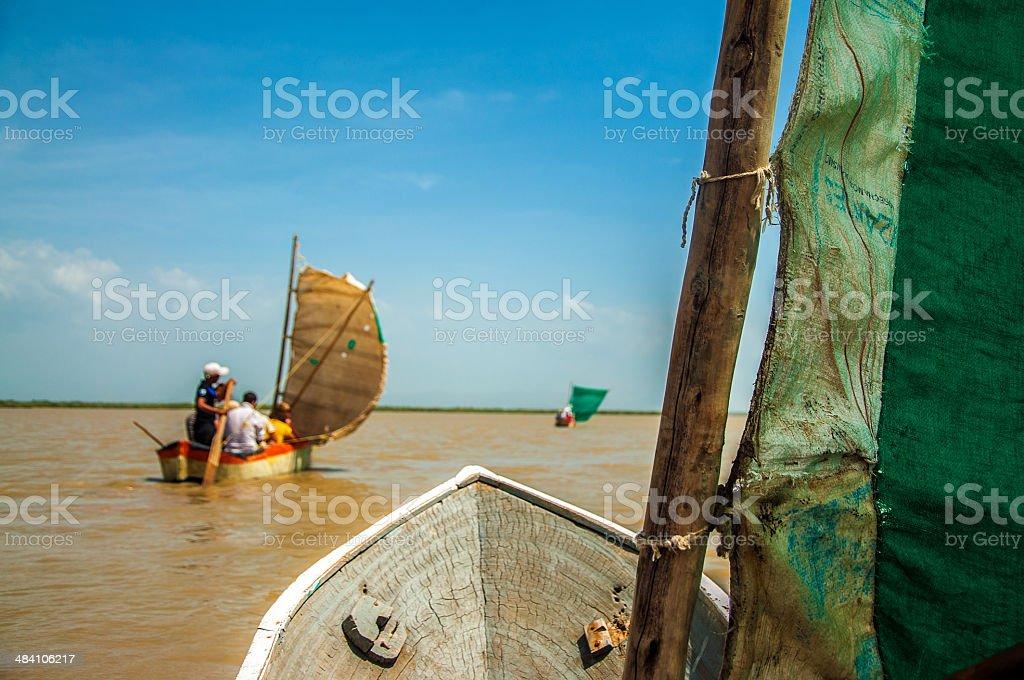 Canoes on a Lagoon stock photo