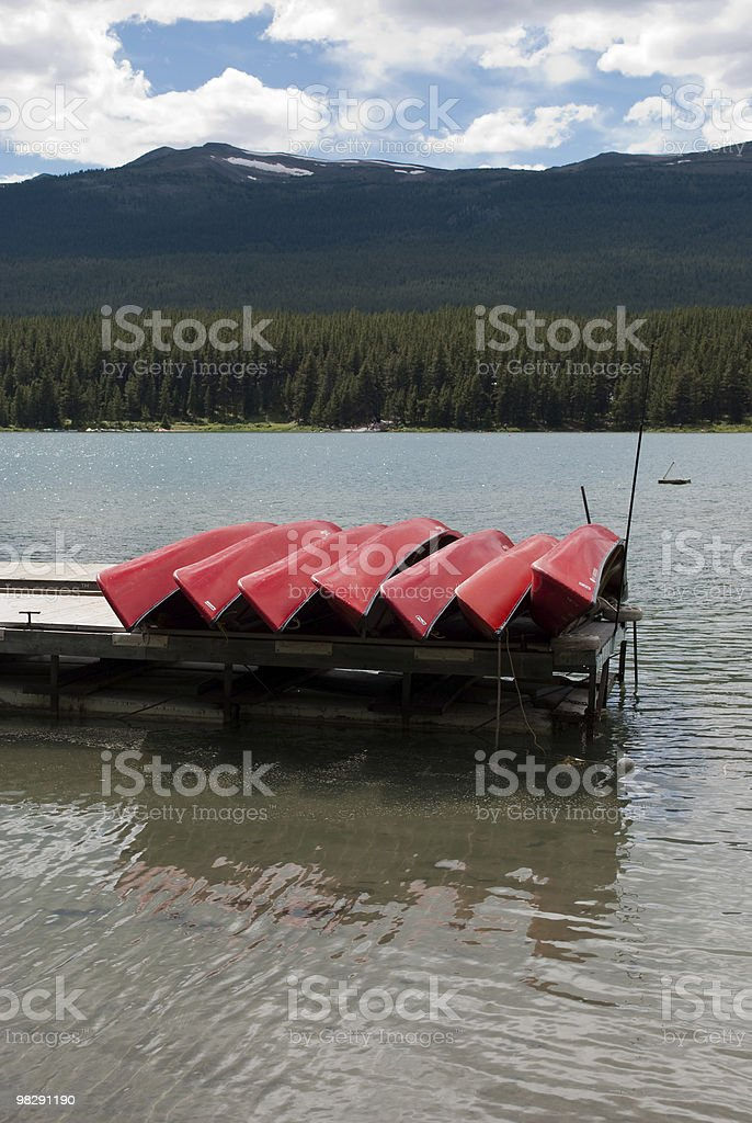 Canoes on Dock 1 royalty-free stock photo