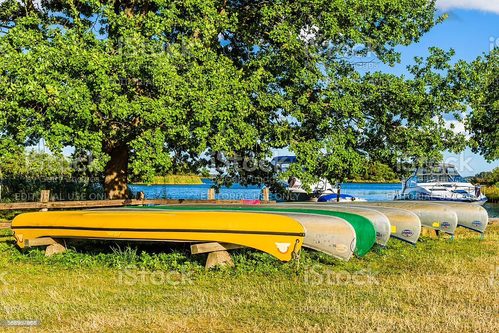 Canoes on land stock photo