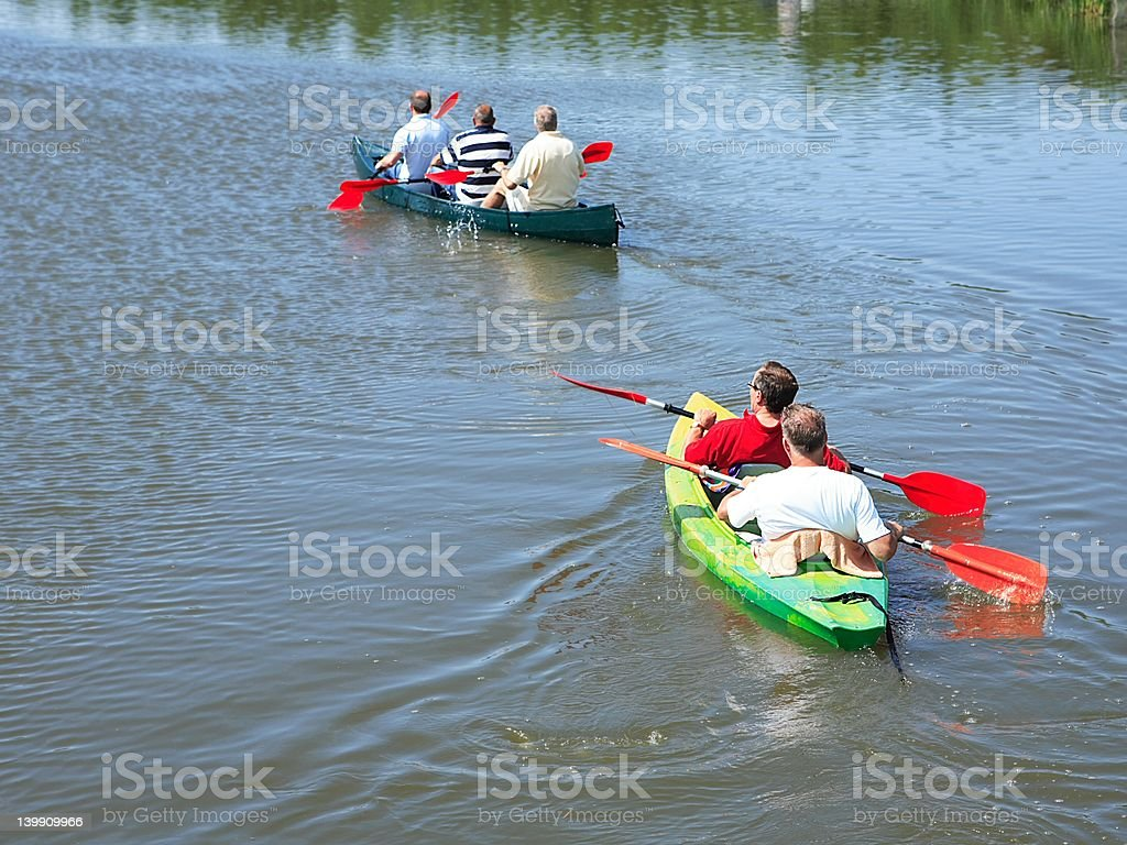 Canoes on river royalty-free stock photo