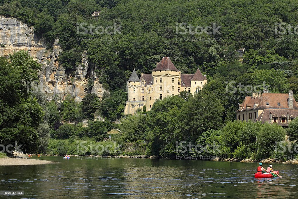canoes on the Dordogne river stock photo