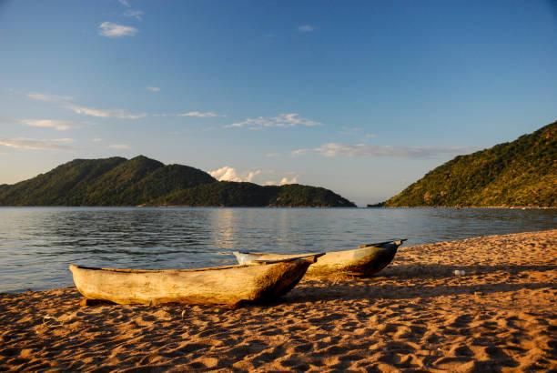 Canoes on the Lake Malawi, Malawi stock photo