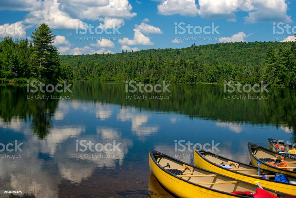 Canoes on the lake stock photo