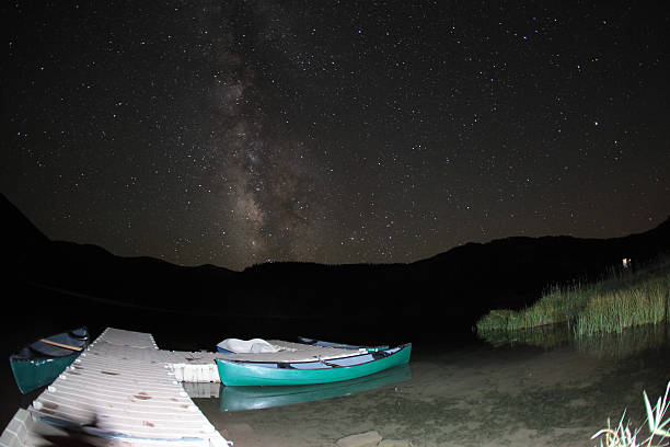 Canoes Under The Stars stock photo