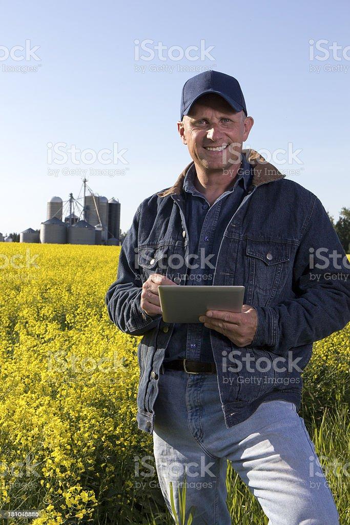 Canola Farmer and Computer royalty-free stock photo