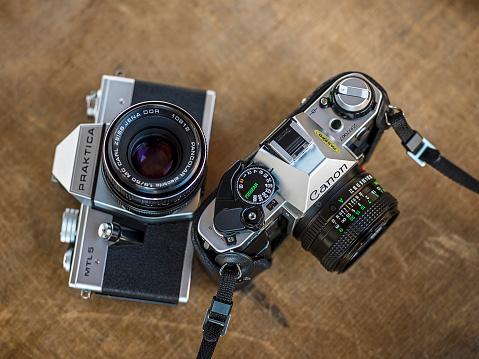 Canon AE-1 and Praktica MTL5 cameras