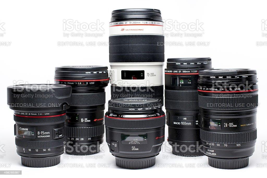 Canon EF lens set stock photo