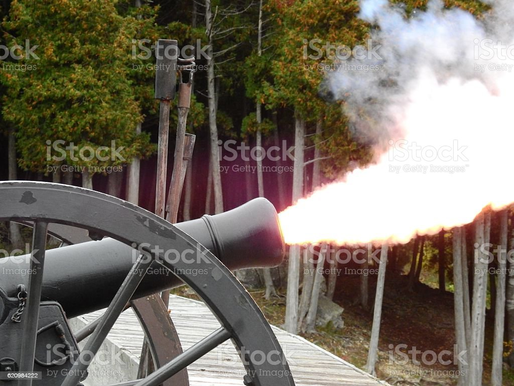 canon fire stock photo
