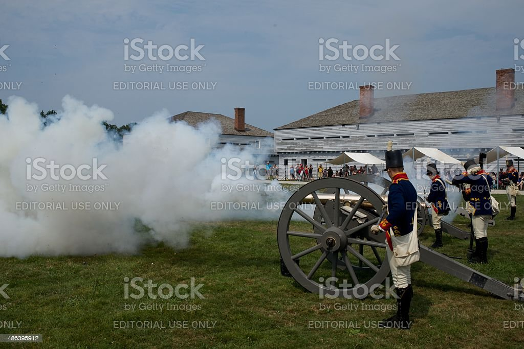Canon Firing Demonstration at Fort George Historic Site stock photo