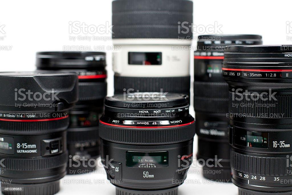 Canon L lens set stock photo