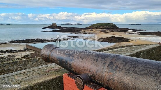 istock Canon on the rampart of Saint-Malo, Brittany, France 1295299528
