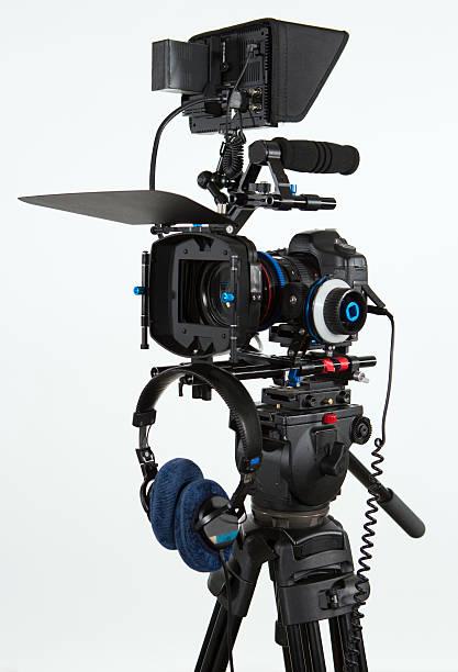DSLR canon video camera, with monitor stock photo