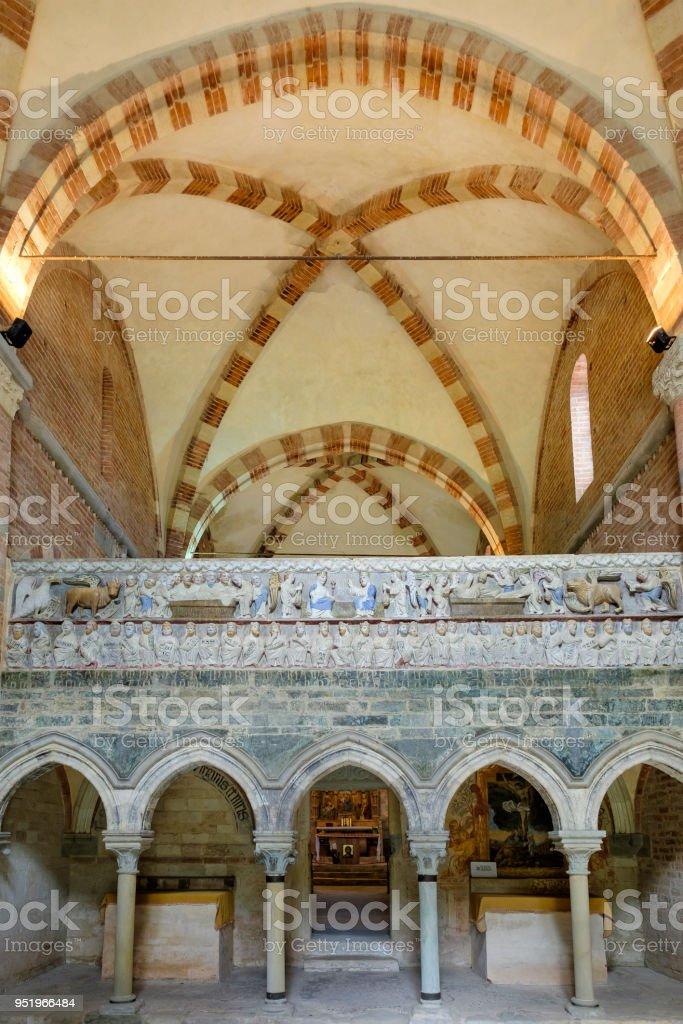 Canonica di Santa Maria di Vezzolano, a Gothic–Romanesque style church located in Piedmont, northern Italy. stock photo