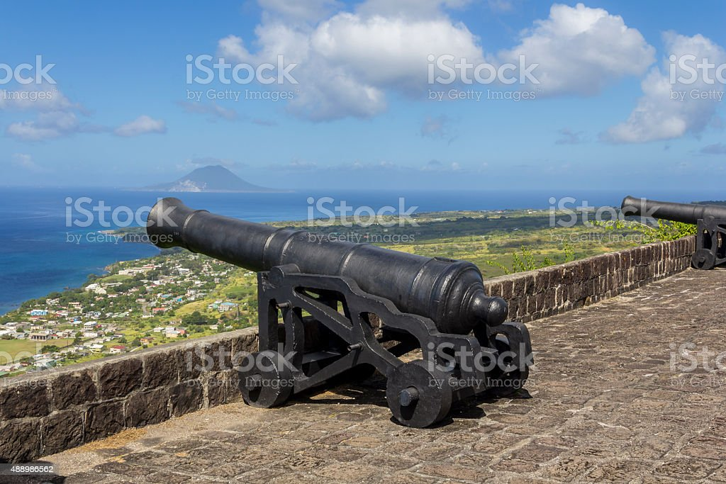 Canons at Brimstone Hill fortress stock photo